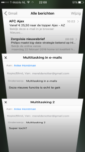 iPhone functie Multitasking e-mail